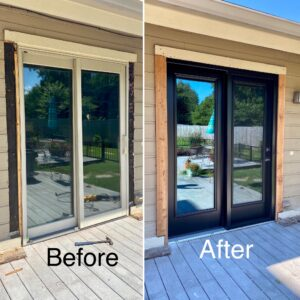 Coal black patio door