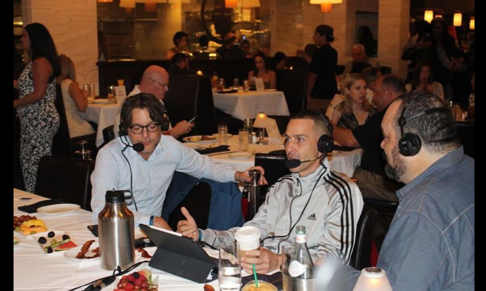 Drew Garabo, Ben Heldfond, and Mike broadcasting