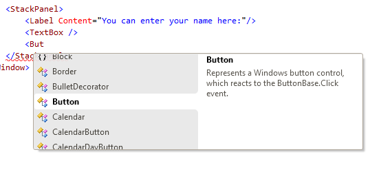 Intellisense in its XAML editor