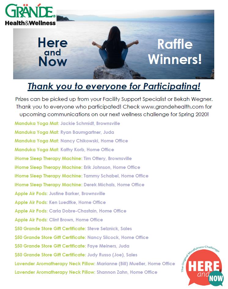 Challenge Winners - Mindfulness Challenge
