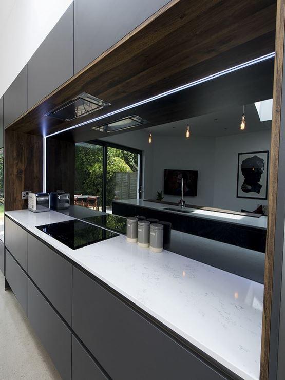 Grey mirror splashback