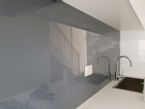 Grey Painted Glass Splashback