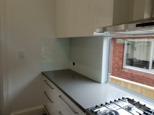 White Painted Glass Splashback