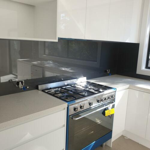 Silver Metallic Glass Splashback