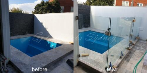 Frameless pool fence