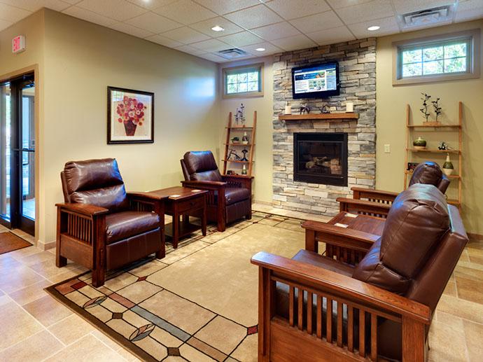 SECNY Federal Credit Union Fireplace Area