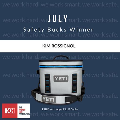July Safety Bucks Winner