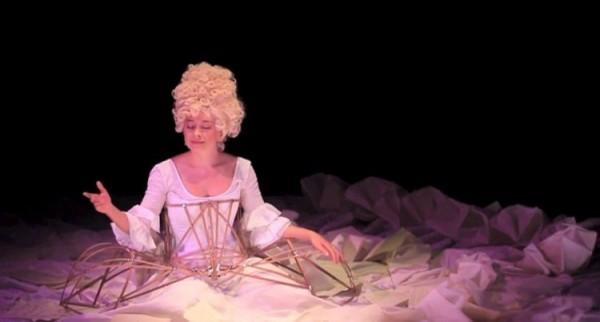Sylvia Milo as Nannerl Mozart in the 18-foot-wide dress that serves as the play's central metaphor.