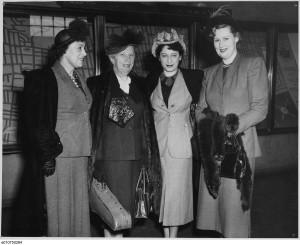 Left to right: Founder Madge Bowen, Guest Violinist Lea Luboshutz, Conductor Ethel Stark, and orchestra violinist Mrs. John Pratt