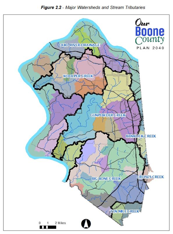 Figure 2.2 Major Watersheds and Stream Tributaries. A Map of Boone County showing the major Watersheds with their names and boundaries, with various stream tributaries indicated as well. From North to South: Ohio River Drainage, Woolper Creek, Ohio River Drainage (again, in West), Gunpowder Creek, Gunpowder Creek, Banklick Creek (in East), Ohio River Drainage (again, in West), Big Bone Creek, Cruises Creek, Ten Mile Creek