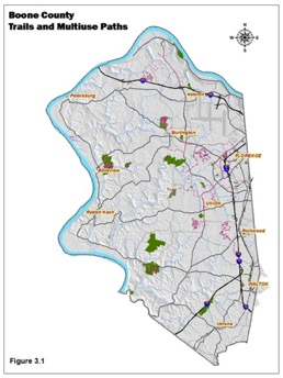 figure 3.1 - Boone County Trails and Multiuse Paths