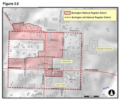 Figure 3.6 - Map showing Burlington National Register District and Burlington old National Register District in downtown Burlington