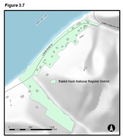 Figure 3.7 - Map showing Rabbit Hash National Register District which is largely along the Ohio River.