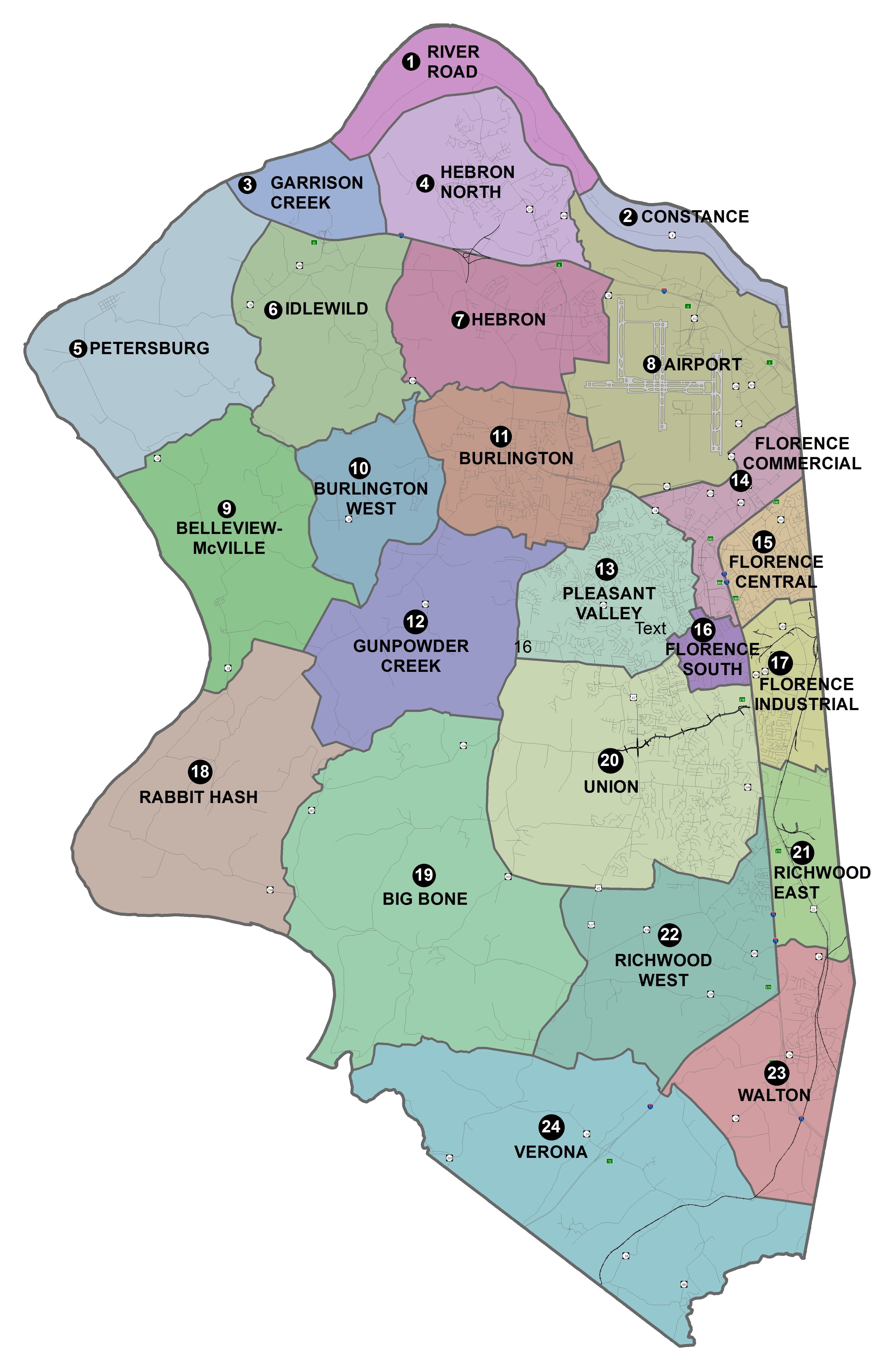 Map of Boone County future land use geographic areas. From north to south and west to east: River Road 1, Constance 2, Garrison Creek 3, Hebron North 4, Petersburg 5, Idlewild 6, Hebron 7, Airport 8, Belleview McVille 9, Burlington West 10, Burlington 11, Gunpowder Creek 12, Pleasant Valley 13, Florence Commercial 14, Florence Central 15, Florence Industrial 17, Rabbit Hash 18, Big Bone 19, Union 20, Richwood East 21, Richwood West 22, Walton 23, Verona 24