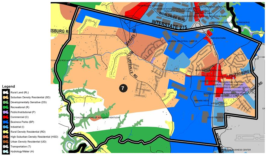 Zoomed in map of Idlewild area, with colors indicating separate land use areas