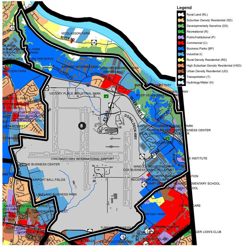 Zoomed in map of Hebron area, with colors indicating separate land use areas