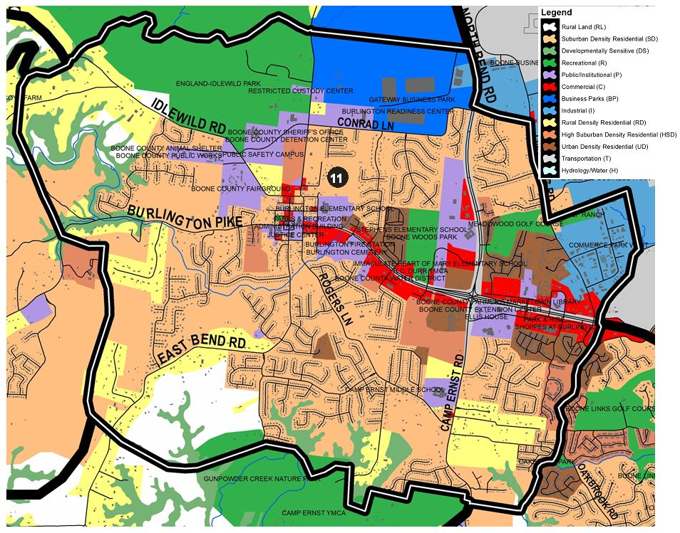 Zoomed in map of Burlington West area, with colors indicating separate land use areas