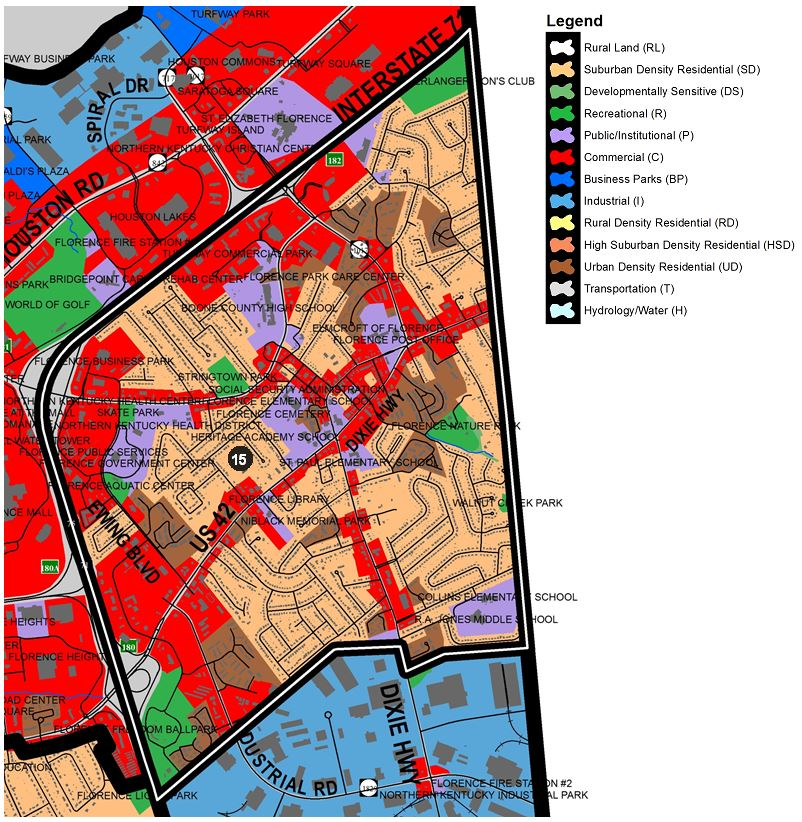 Zoomed in map of Florence Central area, with colors indicating separate land use areas