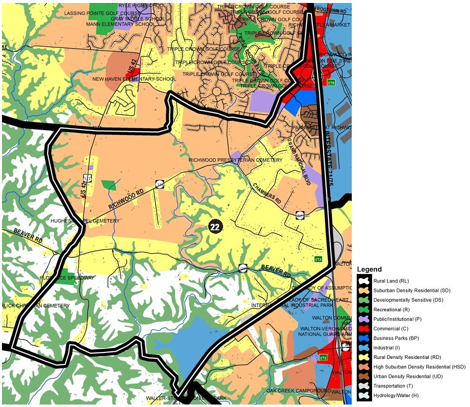 Zoomed in map of Richwood East area, with colors indicating separate land use areas