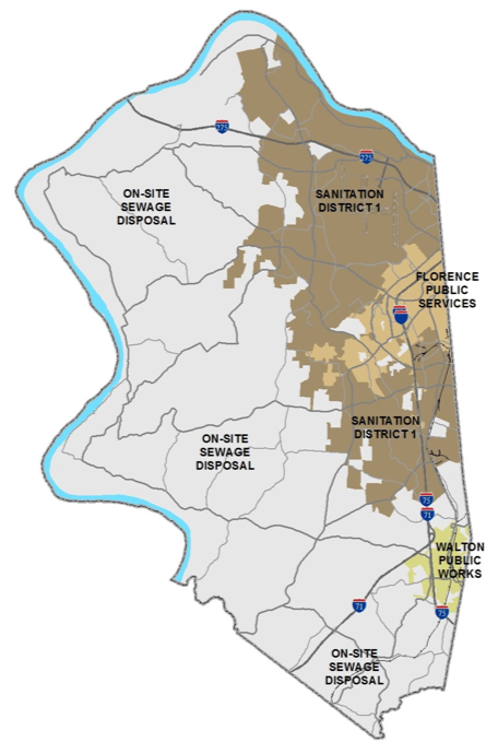 Map of Boone County showing Sewer District 1 and other sewage disposal options. To the west and southern portions of the county the majority is on-site sewage disposal. Around Florence the area is attributed to Florence Public Services, While around Walton the area is attribute to Walton Public Works
