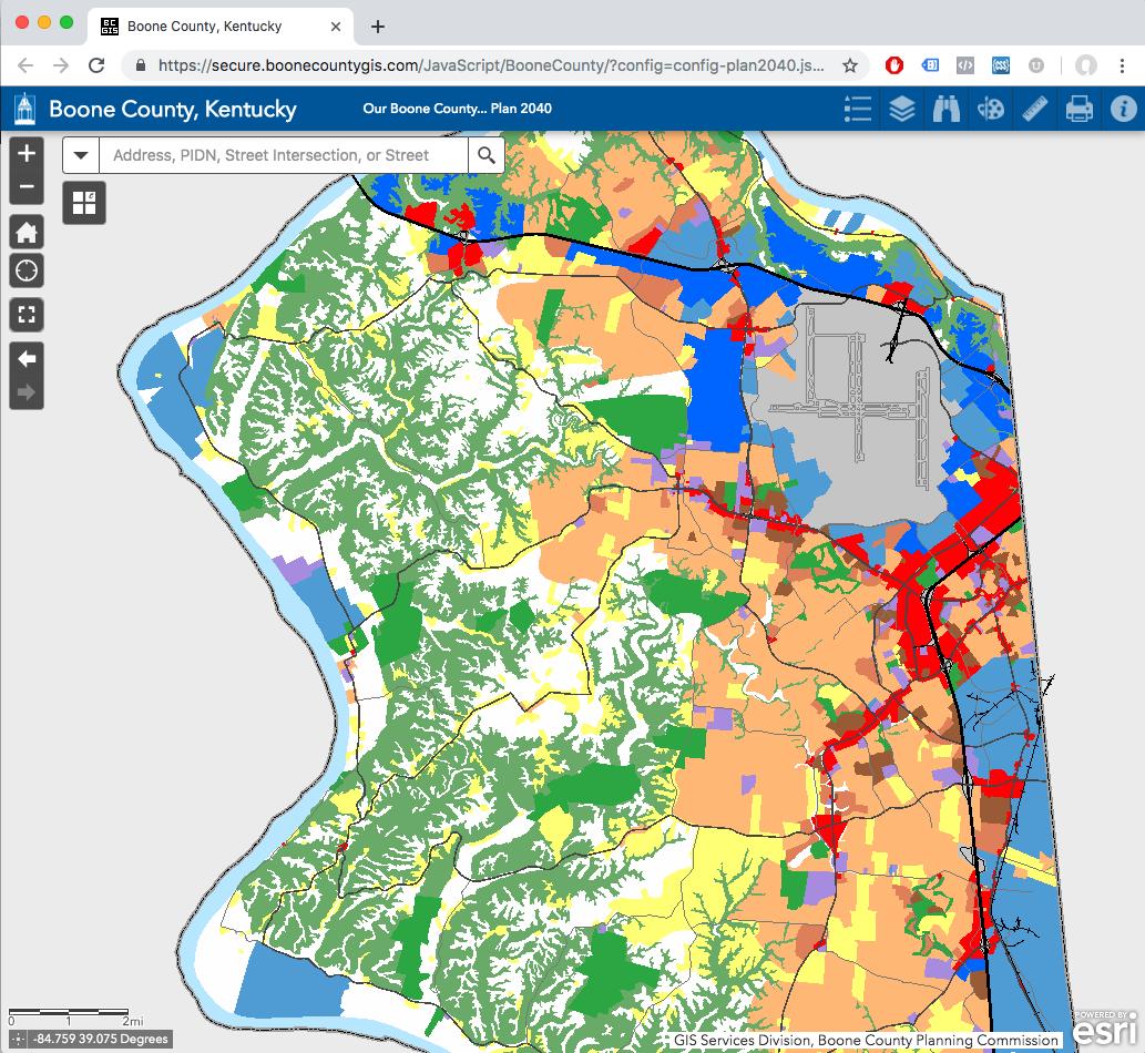 land use interactive map screenshot