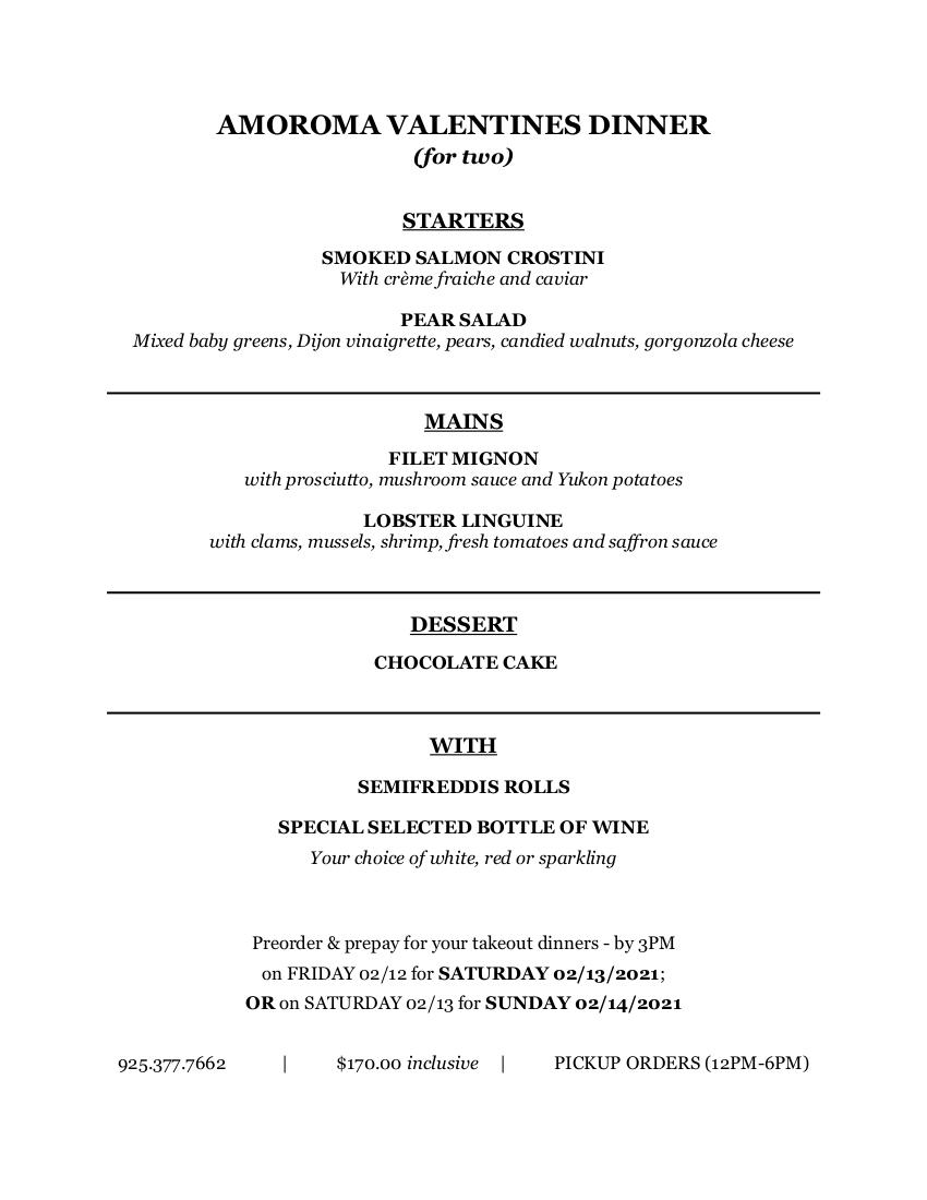 valentine menu