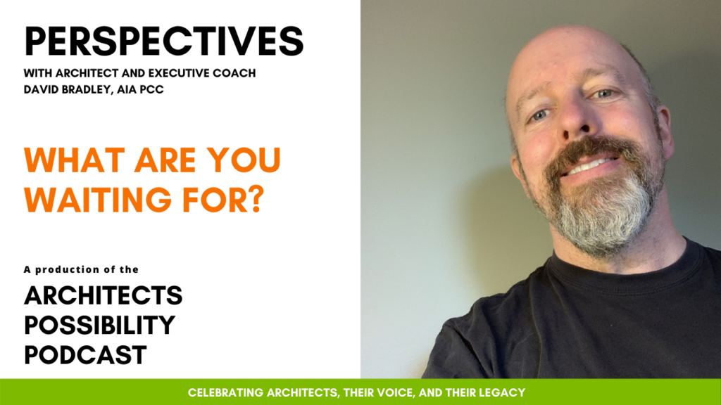 David Bradley, AIA PCC, shares coaching perspectives and tips from the Architects Possibility Podcast on how waiting stops us in our tracks.