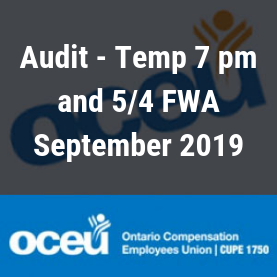 Audit - Temp 7 pm and 5/4 FWA September 2019