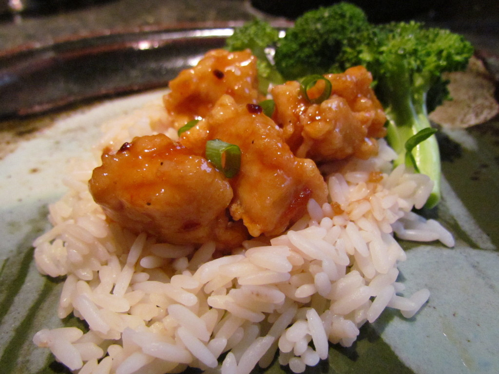 General Tso's Chicken fried with cornstarch batter and in sauce