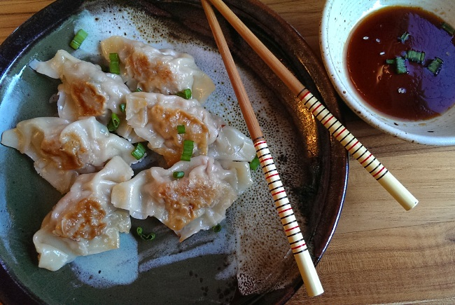 Potstickers pork pan fried dumplings chinese
