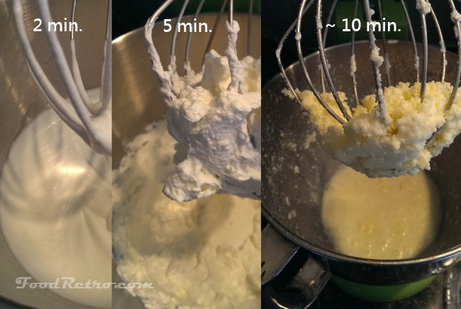 Whipping cream into butter over time