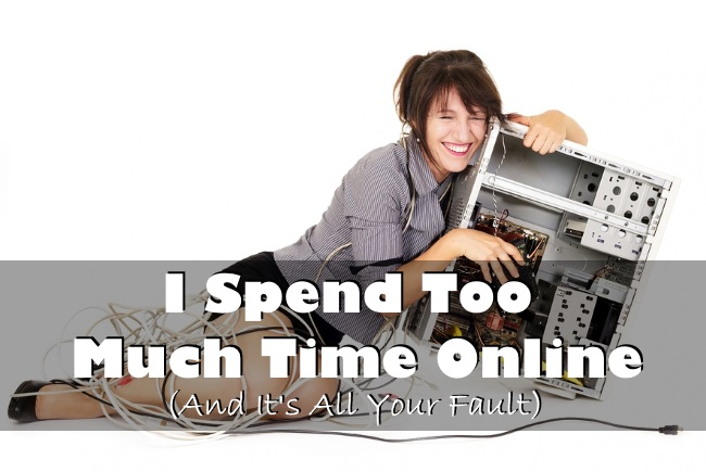 confuse woman hugging computer and laughing