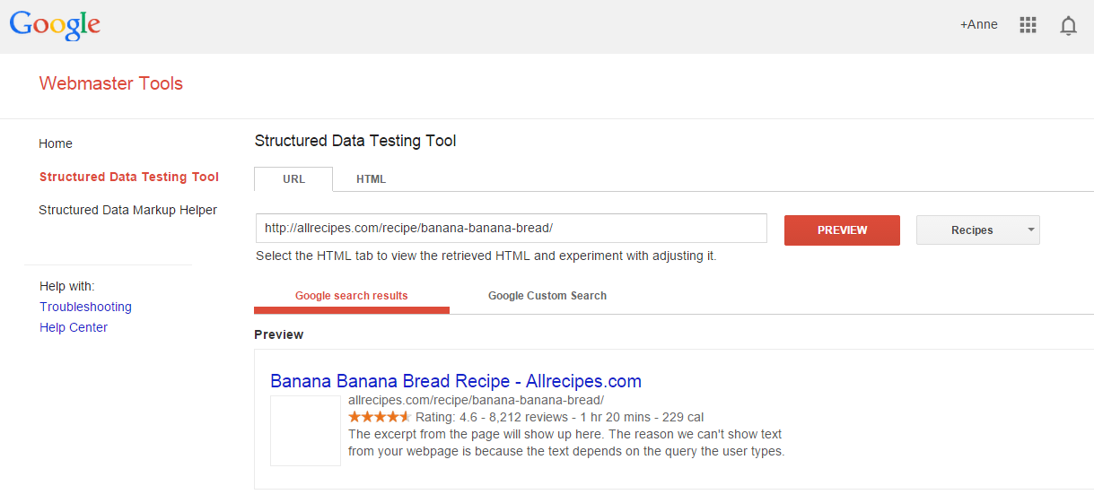 google structure data testing tool for rich snippets