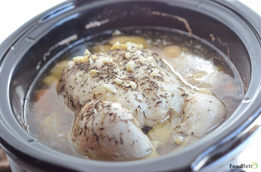 This whole chicken, prepared in the crockpot, is the perfect easy weeknight supper for your family! Just serve this fall-from-the-bone tender bird with a salad!