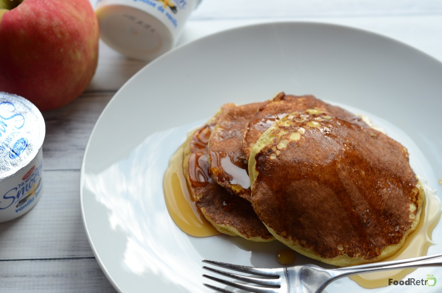 This gluten-free pancake is a great high-protein way to start your day, spiced up with vanilla, cinnamon, and apple sauce! #BornOnTheFarm   FoodRetro.com