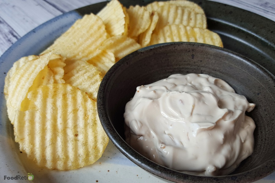 Superbowl woes? My Super Simple Sour Cream and Onion Dip will keep your stress level down. Trust me, it's way better than the stuff you buy in a can, and it's two ingredients and a swirl of a spoon. It barely takes more time than buying the stuff pre-made. | FoodRetro.com