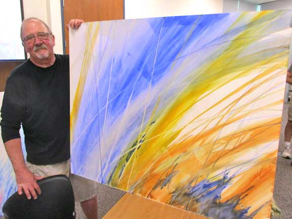 At the June meeting, Michael Ireland gave a demo that literally filled the room. The demo had everything needed for a powerful painting. Mike combined fresh bold color, confident big brush strokes, dynamic design, AND SIZE. The result was BIG and exciting.