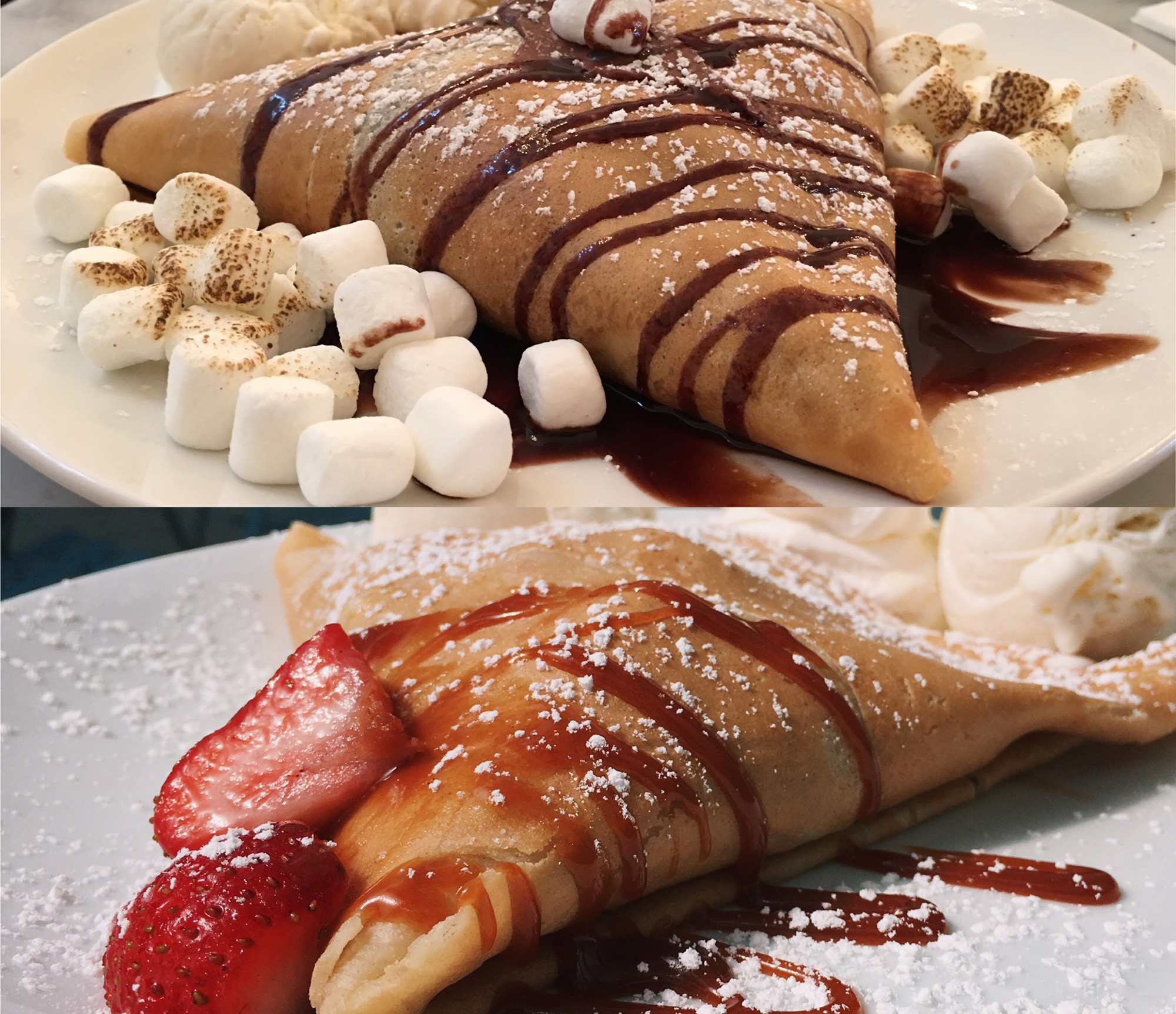 Sweet paris crepes s'mores crepe and dulce de leche crepe best crepes in houston with nutella and marshmallows