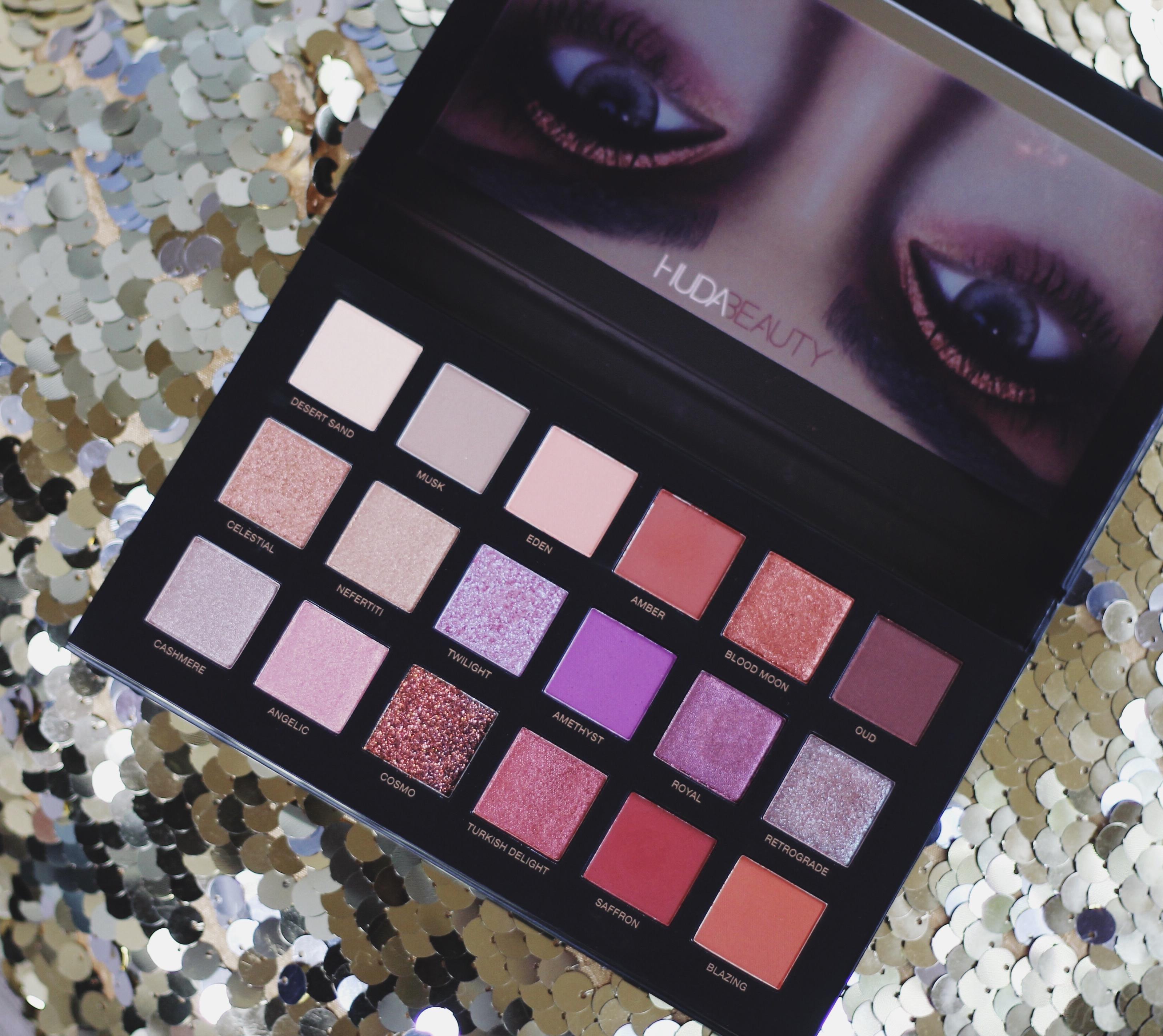 Huda Desert Dusk eyeshadow Review swatches dark skin