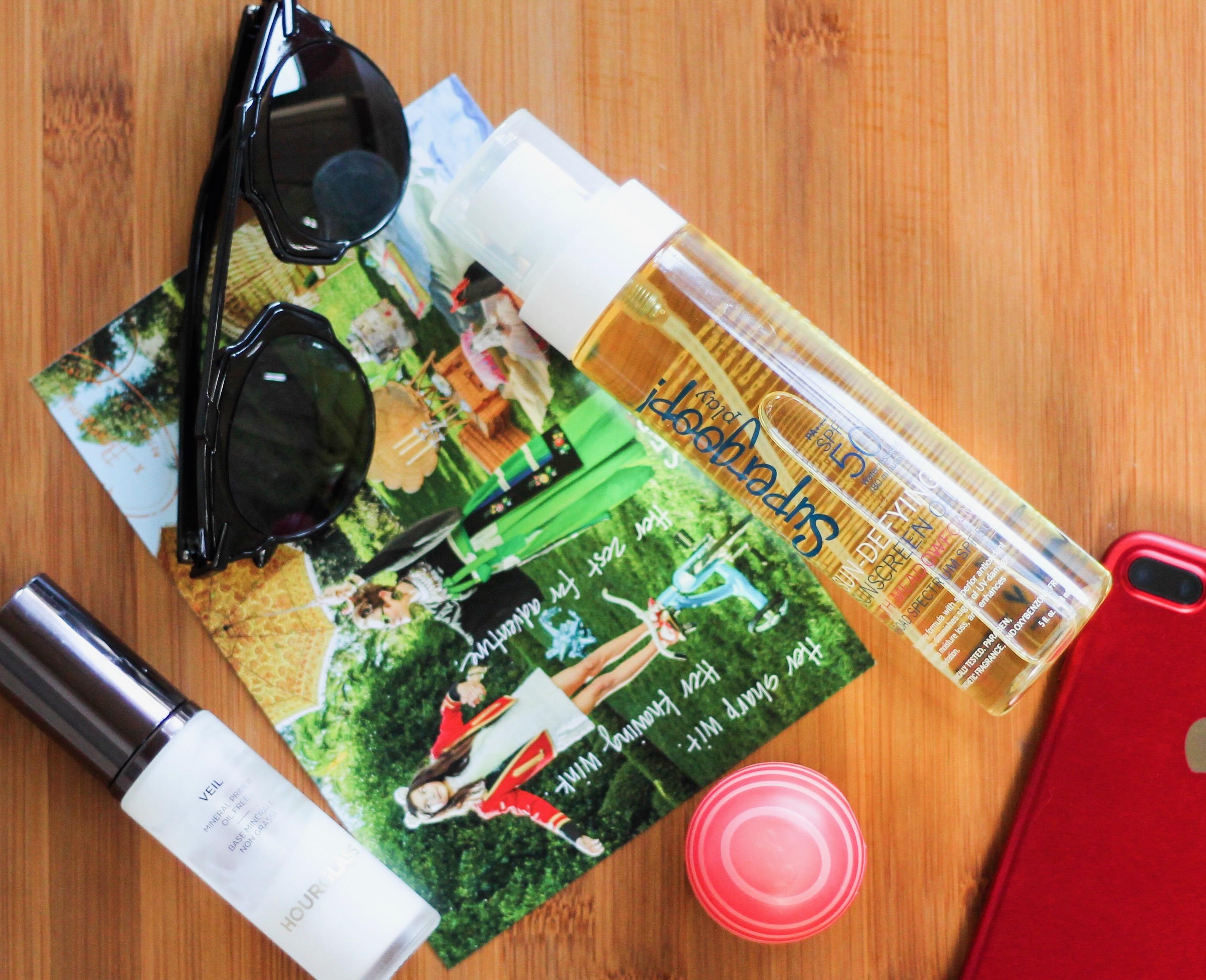 HOURGLASS Veil Mineral Primer, EOS Grapefruit Lip Balm SPF 30, SUPERGOOP! Sun-Defying Sunscreen Oil Broad Spectrum SPF 50