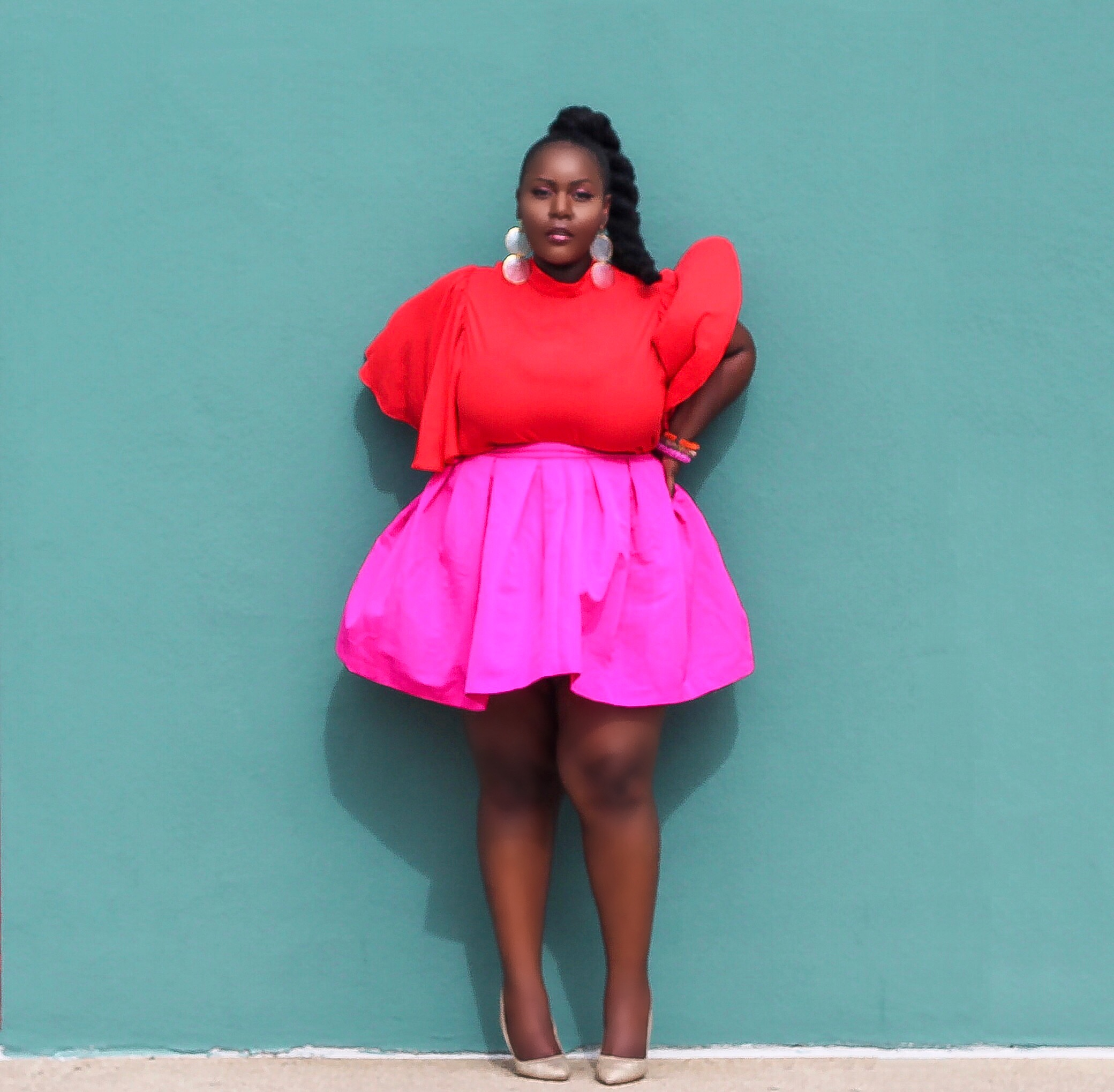 plus size fashion blogs 2017, beautiful curvy girls, how to fill the eye brow of a dark skin, beautiful plus size dark skin girls, plus size black bloggers, clothes for curvy girls, curvy girl fashion clothing, plus blog, plus size fashion tips, plus size women blog, curvy women fashion, plus blog, curvy girl fashion blog, style plus curves, plus size fashion instagram, curvy girl blog, bbw blog, plus size street fashion, plus size beauty blog, plus size fashion ideas, curvy girl summer outfits, plus size fashion magazine, plus fashion bloggers, zara, Rosie the riveter shirt; Emilia embroidered beaded clutch; Vince Camuto heels; Lula shell drop earrings; Aldo Galigossi sunnies