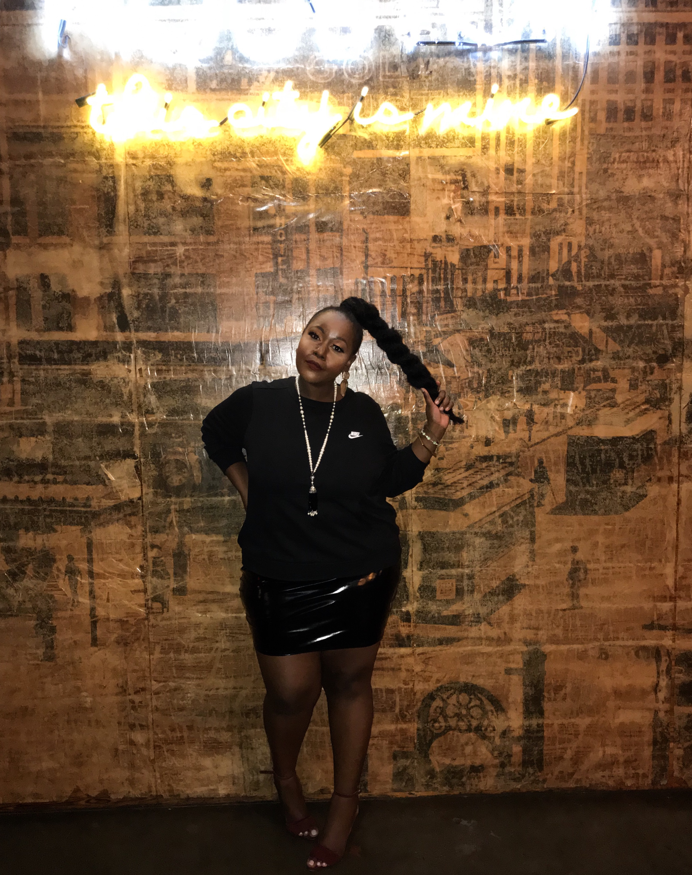plus size fashion blogs 2017, beautiful curvy girls, how to fill the eye brow of a dark skin, beautiful plus size dark skin girls, plus size black bloggers, clothes for curvy girls, curvy girl fashion clothing, plus blog, plus size fashion tips, plus size women blog, curvy women fashion, plus blog, curvy girl fashion blog, style plus curves, plus size fashion instagram, curvy girl blog, bbw blog, plus size street fashion, plus size beauty blog, plus size fashion ideas, curvy girl summer outfits, plus size fashion magazine, plus fashion bloggers, zara, Rosie the riveter shirt; Emilia embroidered beaded clutch; Vince Camuto heels; Nike Basic Crew Neck Sweater, boohoo Plus Lace Up PU Skirt.