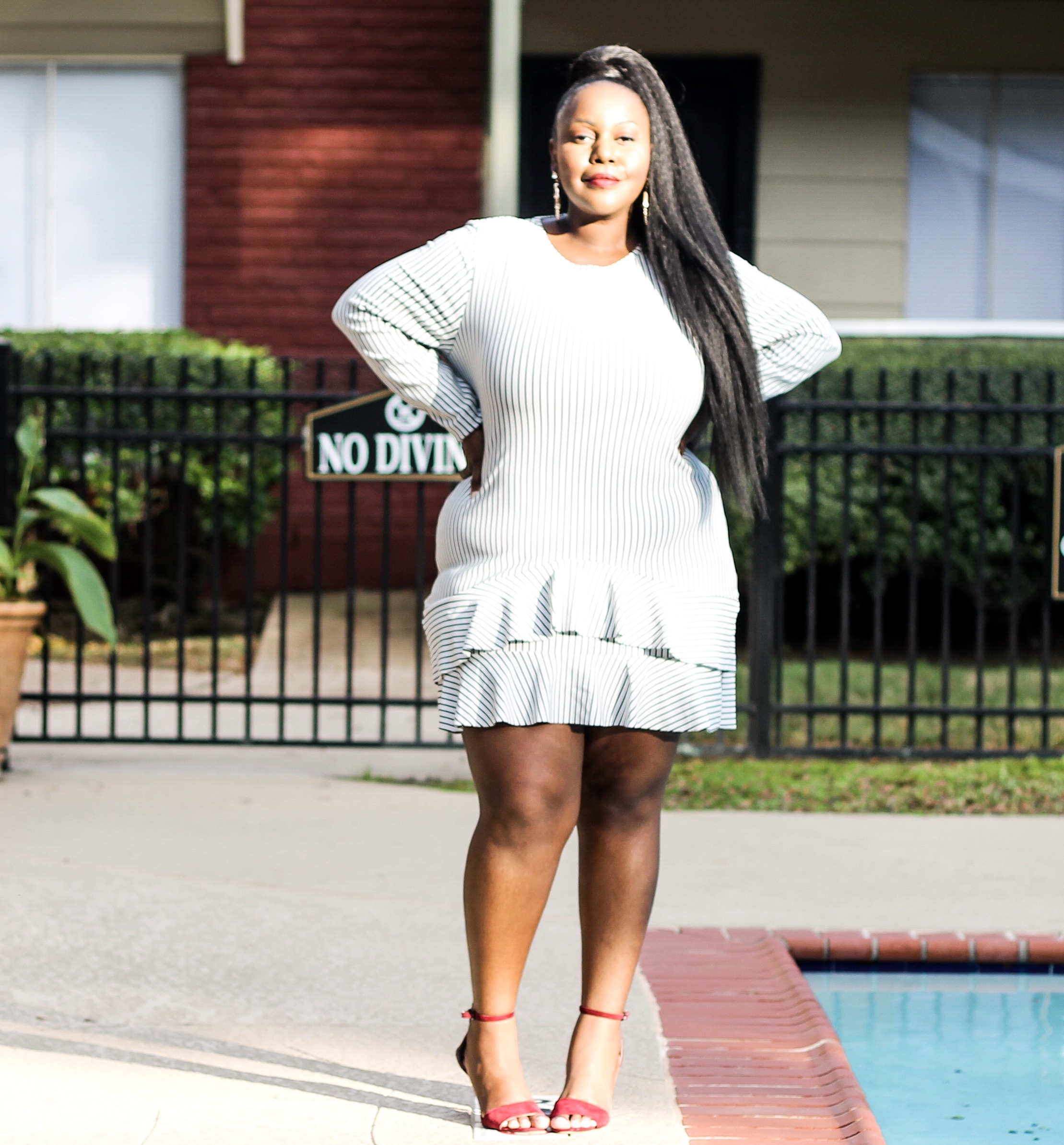 preppy plus size fashion blogs 2017, beautiful curvy girls, how to fill the eye brow of a dark skin, beautiful plus size dark skin girls, plus size black bloggers, clothes for curvy girls, curvy girl fashion clothing, plus blog, plus size fashion tips, plus size women blog, curvy women fashion, plus blog, curvy girl fashion blog, style plus curves, plus size fashion instagram, curvy girl blog, bbw blog, plus size street fashion, plus size beauty blog, plus size fashion ideas, curvy girl summer outfits, plus size fashion magazine, plus fashion bloggers, zara, Rosie the riveter shirt; Emilia embroidered beaded clutch; Vince Camuto heels; Lula shell drop earrings; Aldo Galigossi sunnies, GABRIELLE UNION COLLECTION - STRIPED KIMONO DRESS, new york & company,