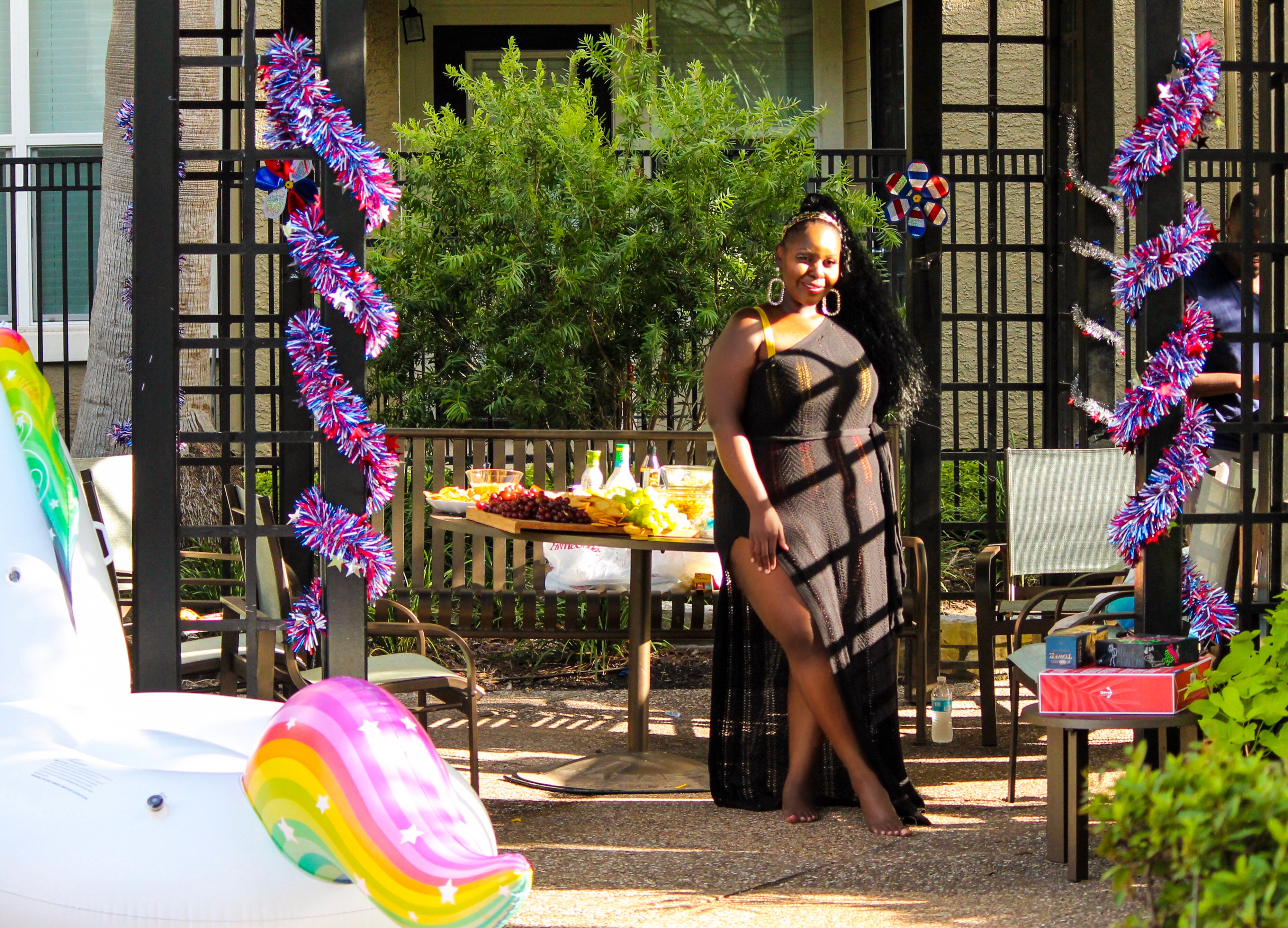 party tips, curvy, fashion lifestyle blog, boohoo knit dress, swimsuit, gabi fresh, swimsuits for all, summer party, mahbuba buba fabulous birthday party, pool party, party ideas, how to throw a pool party on a budget, dark skin, melanin, plus size bloggers, houston blogge, texas blogger, uganda blogger, beautiful ugandan girls, youma, city tycoon daughter, kampala rich and famous, fourth of july, 4th july