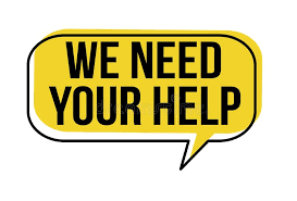 image that reads We need your help