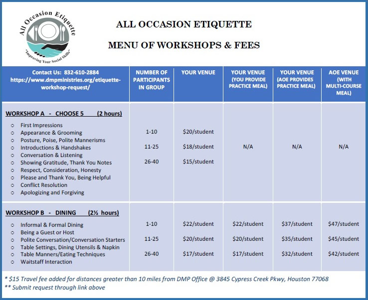 DMP All Occasion Etiquette - Workshops and Fees
