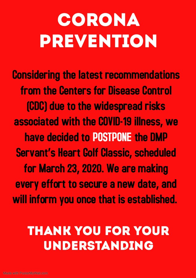 Corona Prevention - Postpone Golf Classic