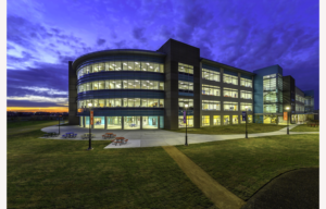 British International School of Houston as viewed at dusk from the outside.