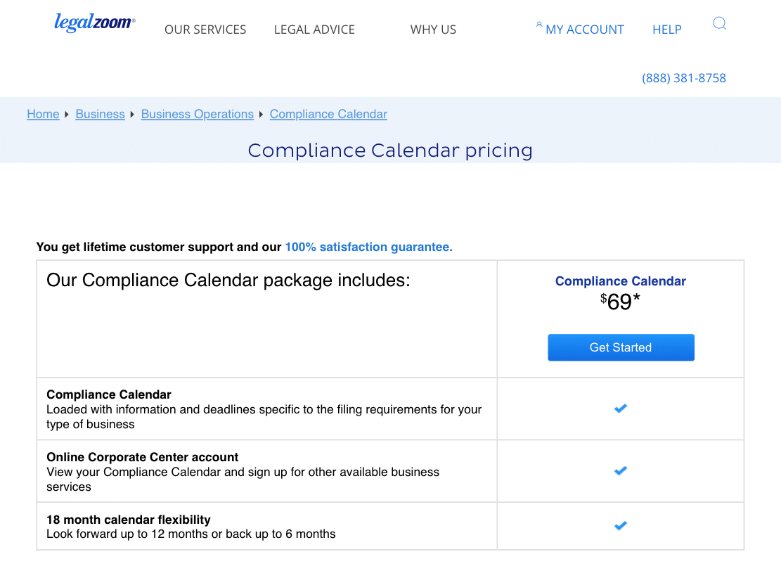 Price For LegalZoom's LLC Compliance Service Called Compliance Calender