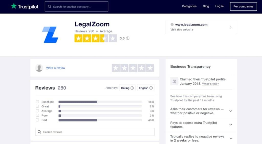 LegalZoom LLC service Trustpilot verified reviews 2021